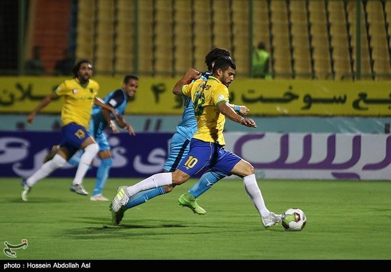 لیگ برتر فوتبال، تساوی صنعت نفت آبادان و فولاد خوزستان در نیمه اول
