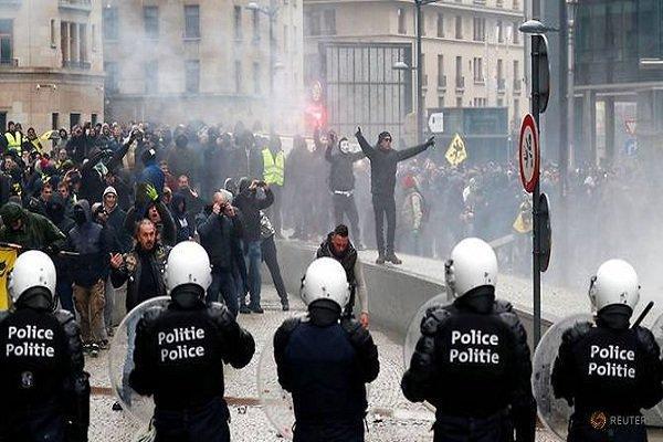 5 هزار و 500 معترض در بروکسل تجمع کردند، 25 نفر بازداشت شدند