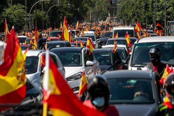 اعتراض به محدودیت های وضع شده برای مبارزه با کرونا در اسپانیا